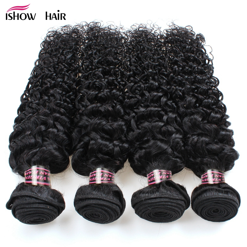 Ishow Hair Indian Curly Hair 4 Bundles Deal 100 Unprocessed Natural Black Kinky Curly Hair Bundles