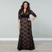 BKLD Women Big Large Plus Size Vintage Dress Sexy V-neck Maxi Black Lace Elegant Party Dresses XL-5XL Half Sleeve Clothing Gown