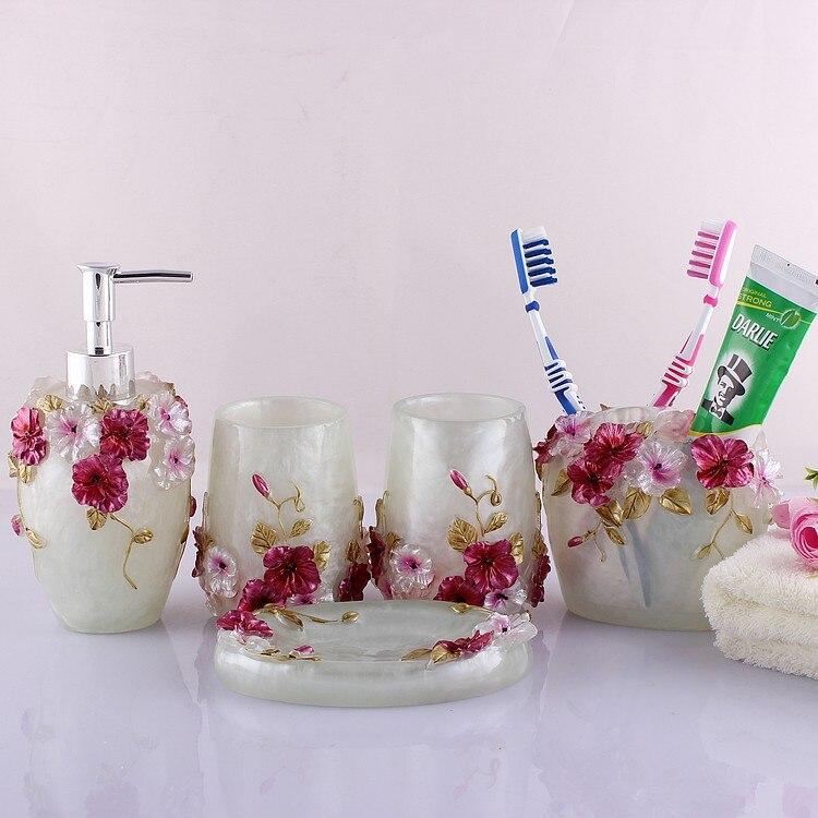 Hot 3D Sculpture board résine fleurs salle de bain 5 suite articles de toilette salle de bain (rose, vert)
