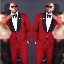 (Jacket+Bow+Pants)Red Men Suits With Black Bowtie Wedding Groom Tuxedos  Custom Made Formal Suit For Bestmen