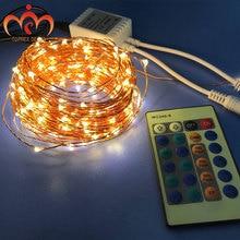 20m teplý bílý stmívač a 8 modelů Twinkling s dálkovým LED měděným řetězem světlo zrcadlo světla svatební dekorace Vánoce