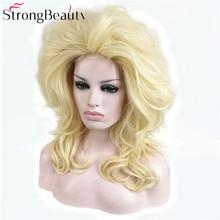 Strong beauty perruque longue bouclée synthétique Blonde perruque, perruque pour Cosplay pour fête dhalloween, coiffure pour femmes