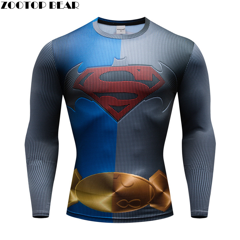 The superman T shirt Crossfit Men t shirt Compression t-shirt Fitness quick dry tight Breathable Spring 3d Tops ZOOTOP BEAR