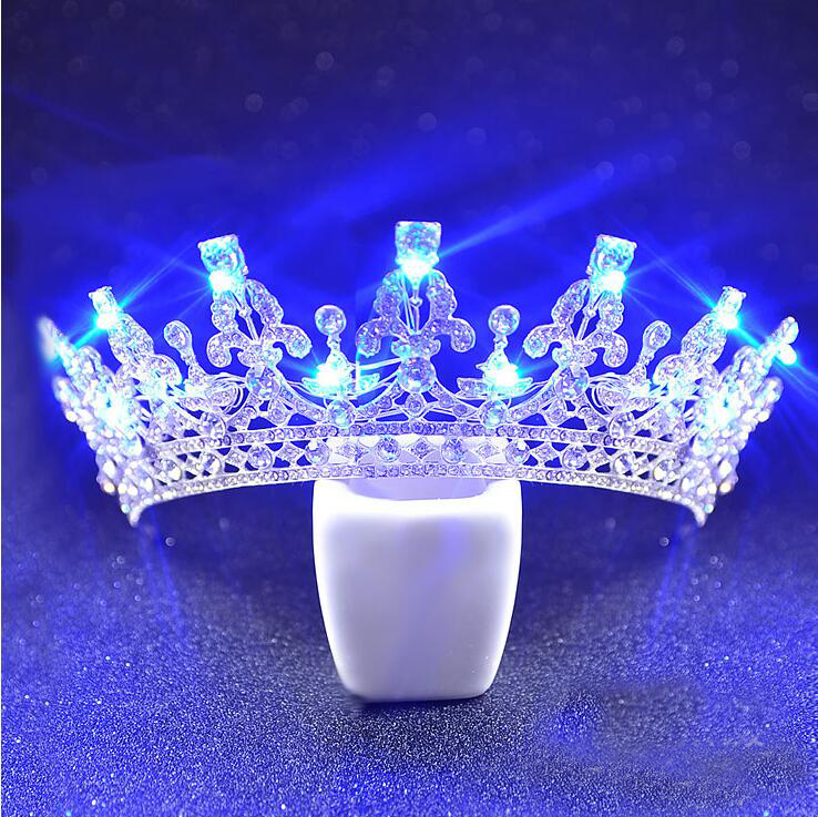 Luxury Glitter Crystal Bridal Tiara Shiny Purple Glowing Up Pageant Crown Fashion Blue Light Rhinestone Wedding Hair Accessories In Jewelry From