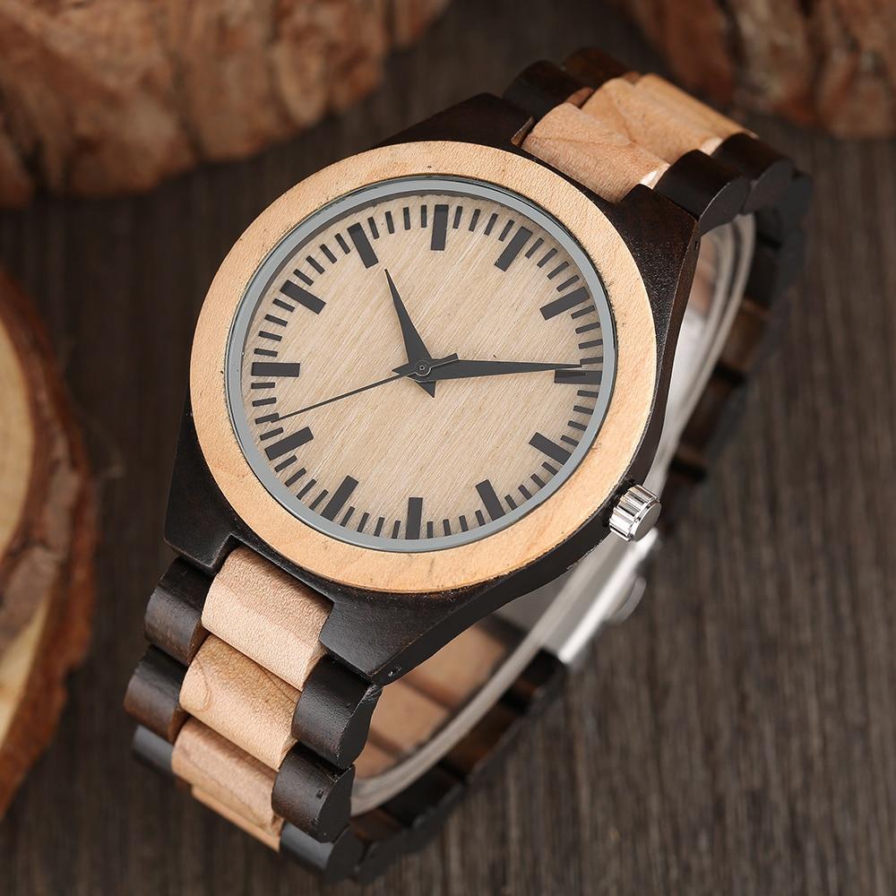 Fashion Analog Full Wooden Bamboo Women Creative Watches Novel Nature Wood Men Bangle Quartz Wrist Watch 2017 New Arrival
