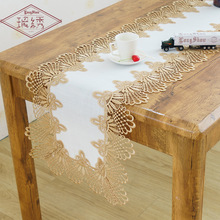 Luxury Pastoral Lace Linen Solid Color Table Flag Dinning Coffee TV Cabinet Decorative Tablecloth Cover Towel Runner