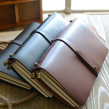 Endless Story L Large Real Genuine Cowhide Leather Travel Journal Business Notebook Study Diary Blank Lined Grid Papers