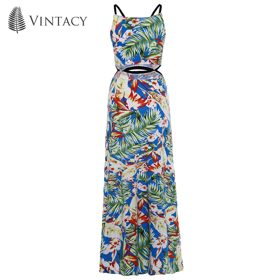 be10afef40 Vintacy Women Long Maxi Dress Spaghetti Strap Backless Floral Blue Print  Summer Vacation 2018 Modern Fashion Women Long Maxi Dresses