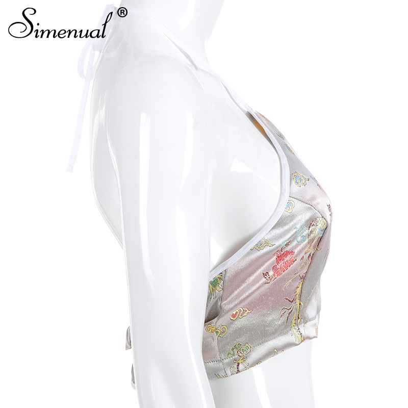 embroidery sleeveless halter top sexy backless crop top bandage fashion  (5)