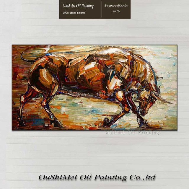 Skill Painter Pure Handmade Running Brown Bull Oil Painting on Canvas for Living Room Decor Big Size Beautiful Wall Picture Art