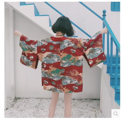 2017 sommar japansk stil tjej solskyddsmedel Chiffon Toppar Kimono - Nationella kläder - Foto 2