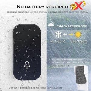 Image 4 - SMATRUL zelf aangedreven Waterdichte Draadloze Deurbel ring chime nachtlampje geen batterij EU plug Deurbel 1 knop 1 2 ontvanger 150M