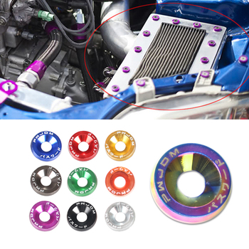 цена на M6 Aluminum 10 Pcs/Pack Car Modified Hex Fasteners Fender Washer JDM Bumper Engine Concave Screws
