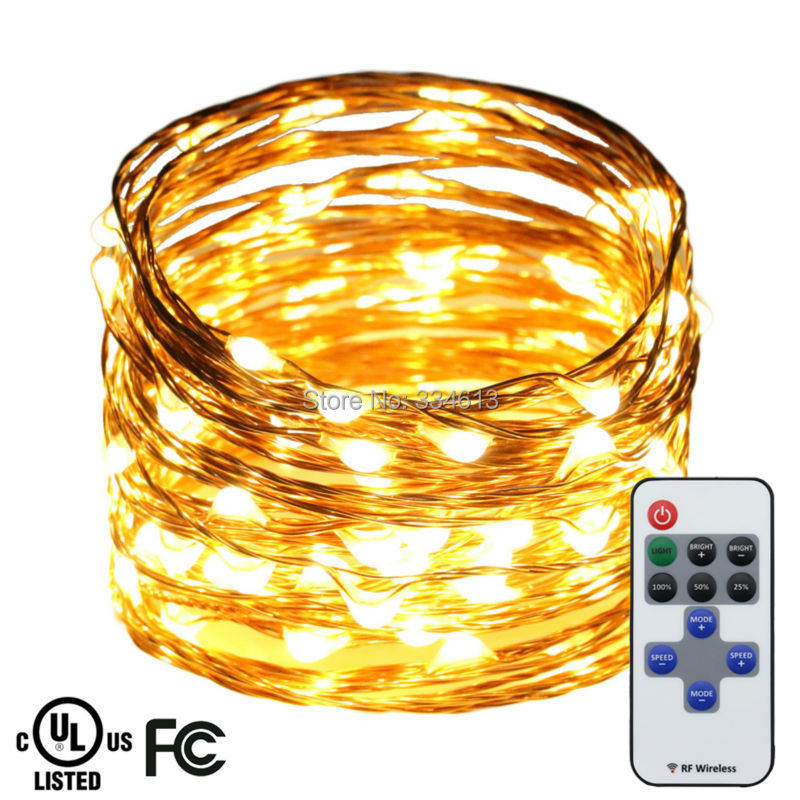 10M 33FT 100LEDs Copper Wire Warm White LED String Lights Holiday Starry Light Christmas Fairy Lights with Remote+ UL CE Adapter