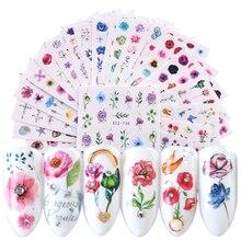 24 시트 네일 스티커 물 데칼 피는 데이지 꽃 오션 패턴 슬라이더 3d 네일 아트 물 전송 스티커 TRSTZ707 730