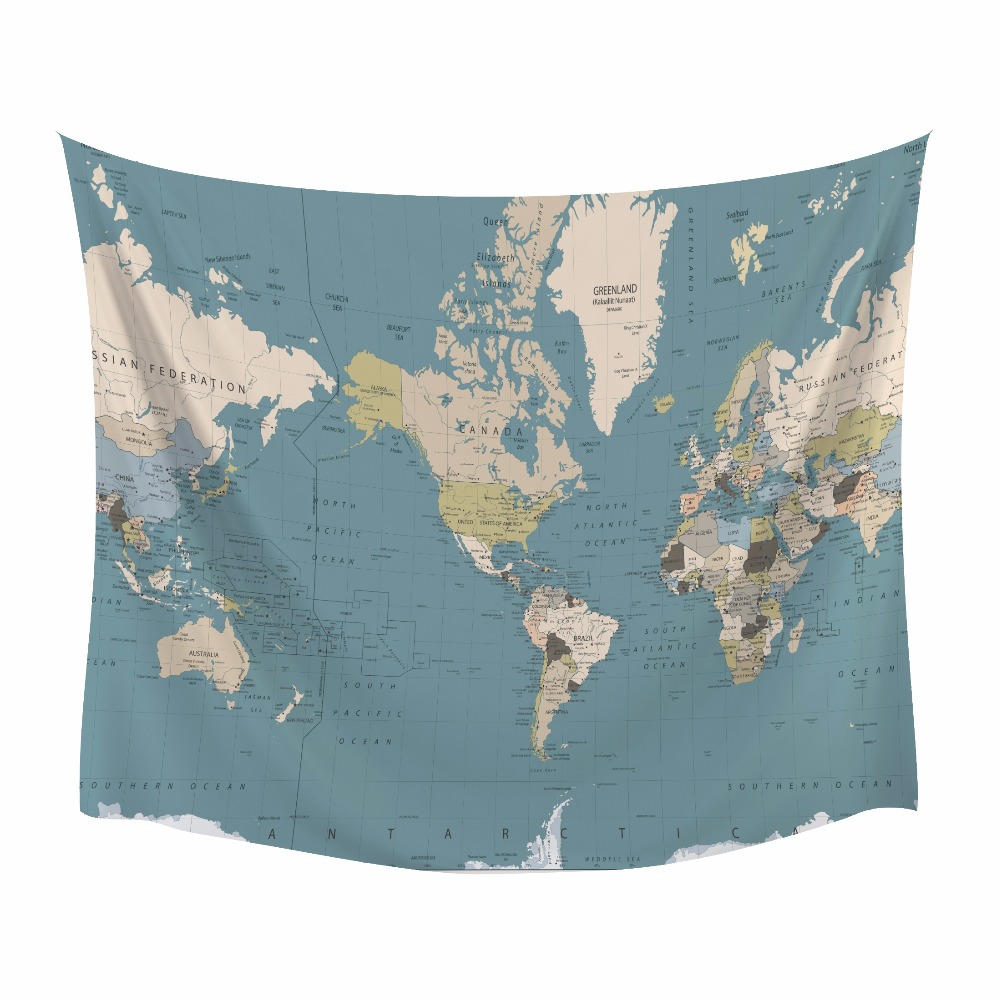 Hyha HD World Map Tapestry High-Definition Map Fabric Wall Hanging Decor Watercolor Map Polyester Table Cover Yoga Drop Shipping