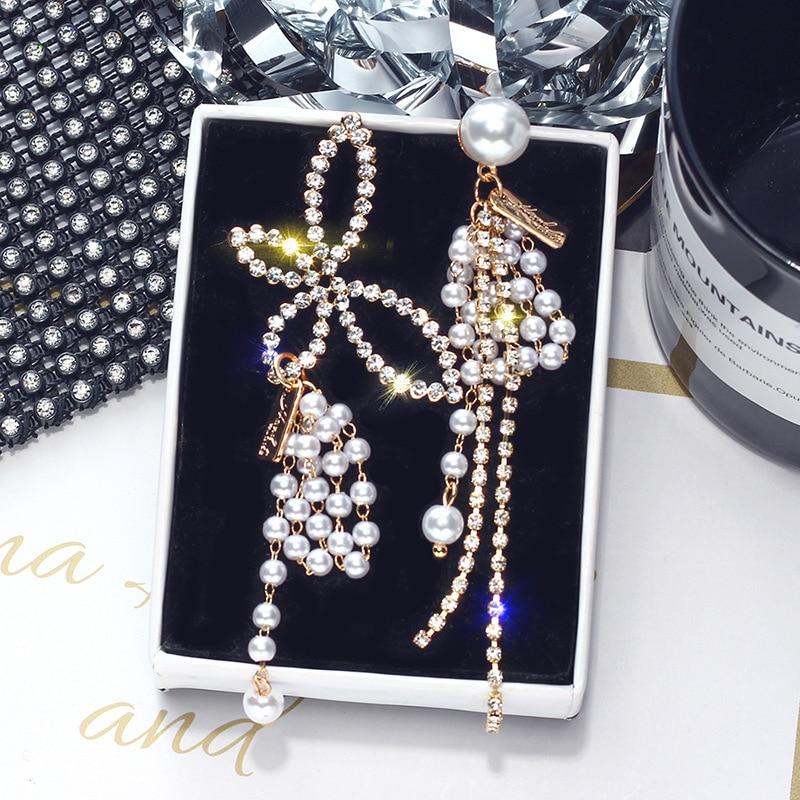 Butterfly Earrings Exaggeration-Set Asymmetrical Korean Temperament Dangle Women Pearl