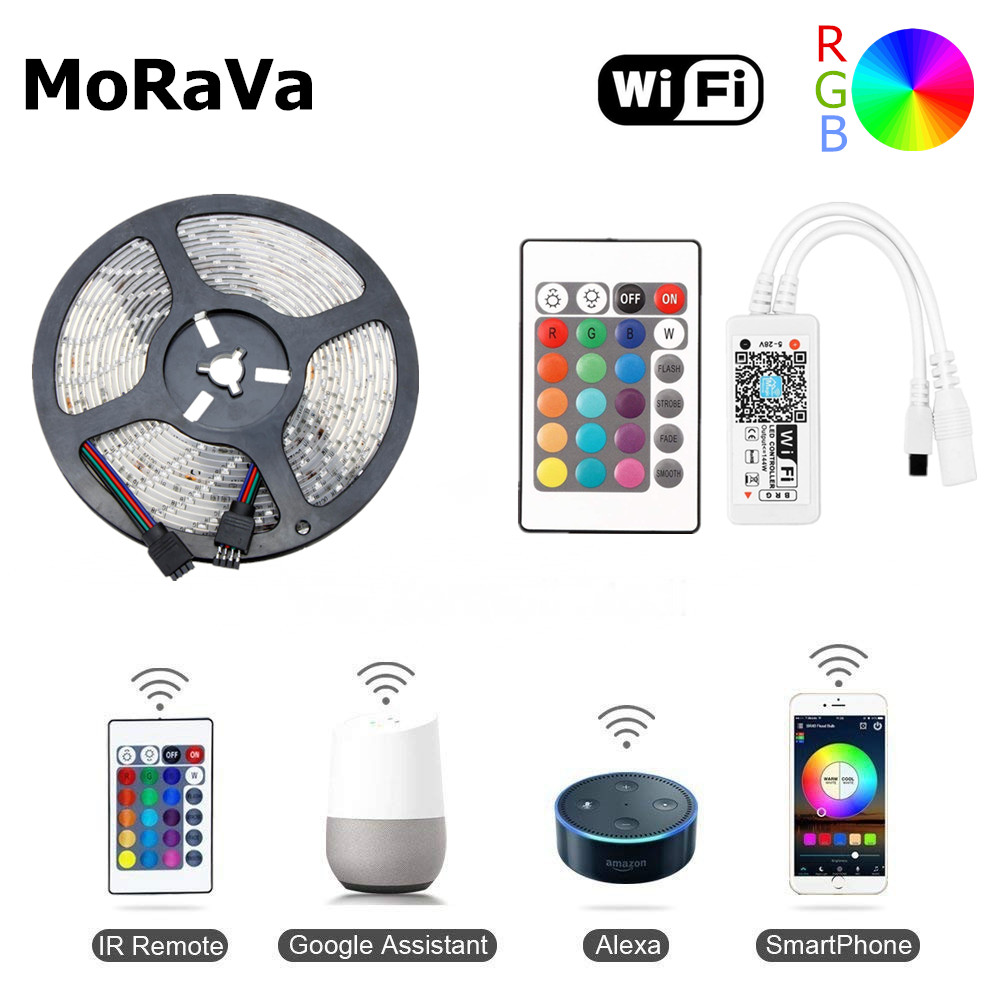 5M 10M WiFi RGB LED Diode Tape SMD 2835 12V Waterproof LED Light Strip 300leds Flexible Rope Lamp+WiFi LED Controller No Power