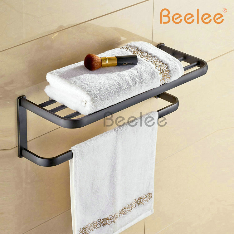 Beelee BL7703R Bathroom Shelf With Towel Bar Bathroom Accessories Set Towel Rack with Rack , Oil Rubbed Bronze beelee bl8402b 60cm brass wall mounted bathroom towel rack holder shelf with towel bar oil rubbed bronze