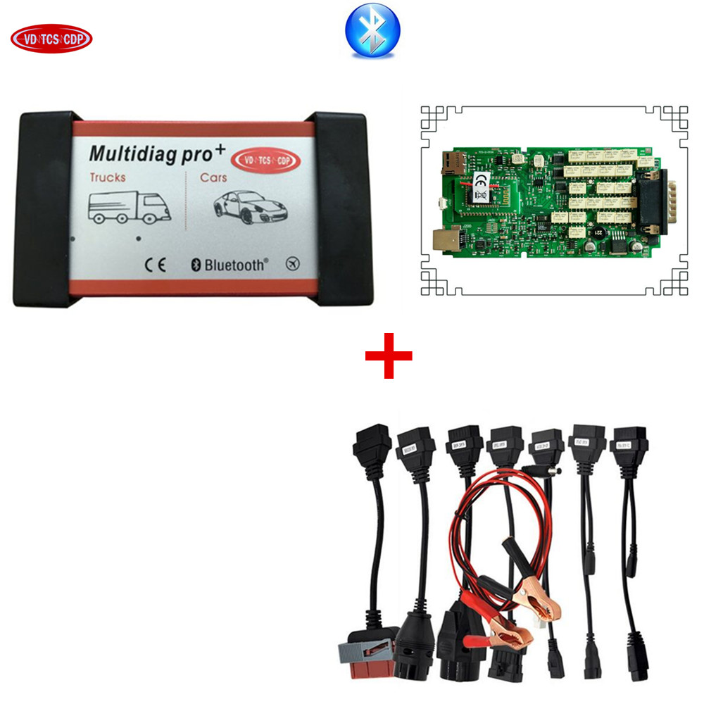 DHL free A+ Single pcb with ne c New relay multidiag pro plus Bluetooth multidiag pro+plus + 8pcs full set cable for car стоимость