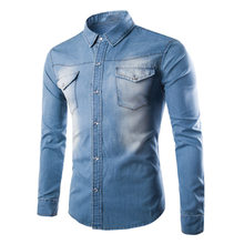 09fd658db7 Camisa vaquera suave de algodón informal de manga larga estilo de combate para  hombre