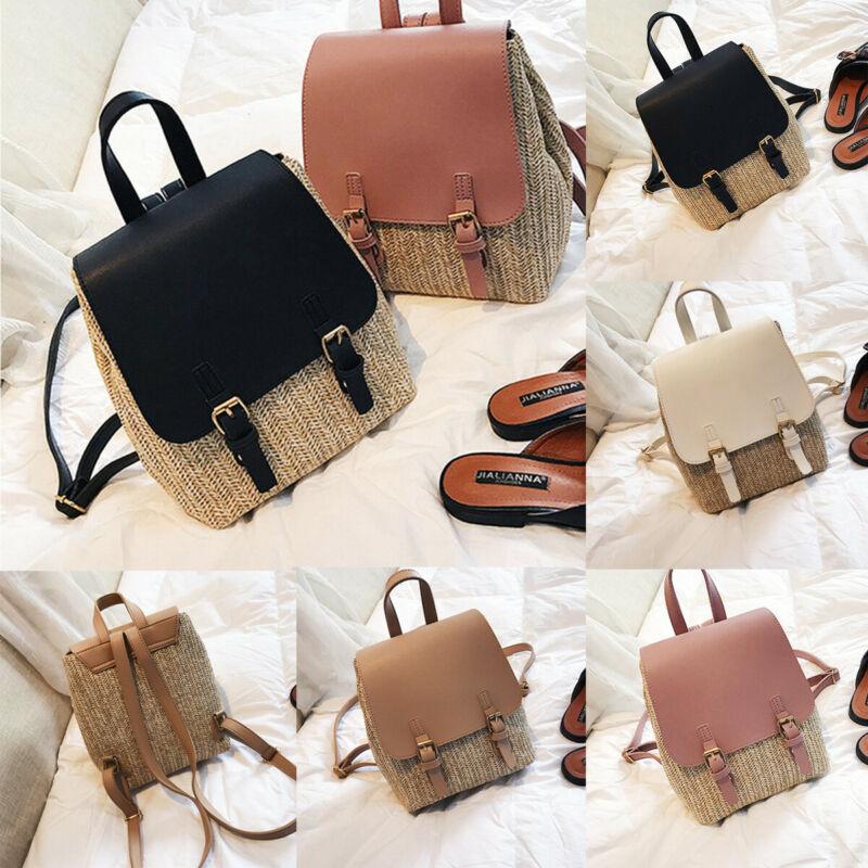 Hot Women Beach Leather Straw PU Woven Backpack Solid Rucksack Fashion Travel Shoulder Bag School Bag