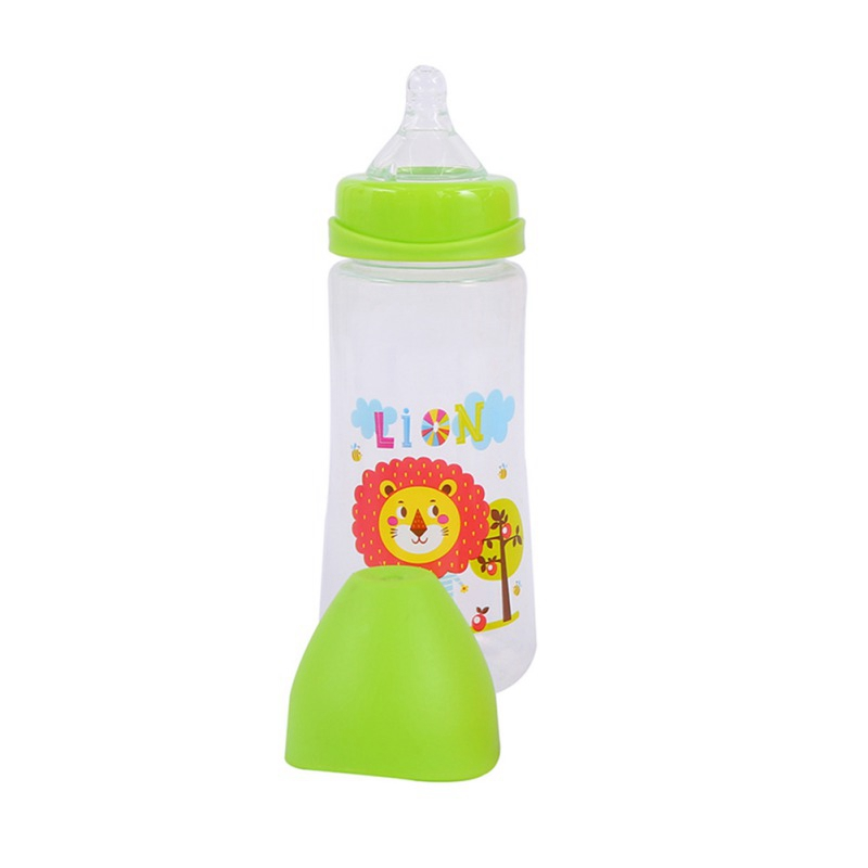 300ML Baby Cartoon Milk Bottle Wide Juice Feeding Drink Baby Mouth