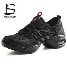 Kadın caz dans ayakkabıları kadın kızlar yumuşak taban nefes örgü spor özelliği dans Sneakers bayanlar Fitness uygulama dans ayakkabısı