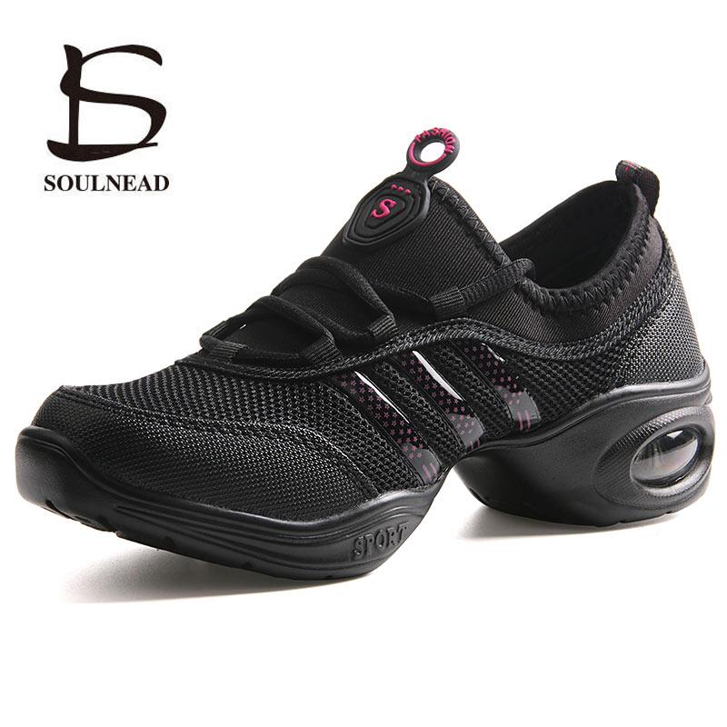 Women's Jazz Dancing Shoes Woman Girls Soft Outsole Breath Sports Feature Modern Dance Sneakers Lady Fitness Practice Dance Shoe