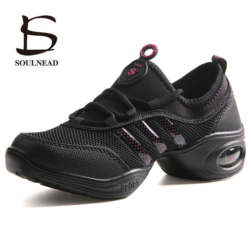 Women's Modern Jazz Dancing Shoes Woman Girls Soft Outsole Breath Sports Feature Dance Sneakers Fitness Practice Dance Shoes