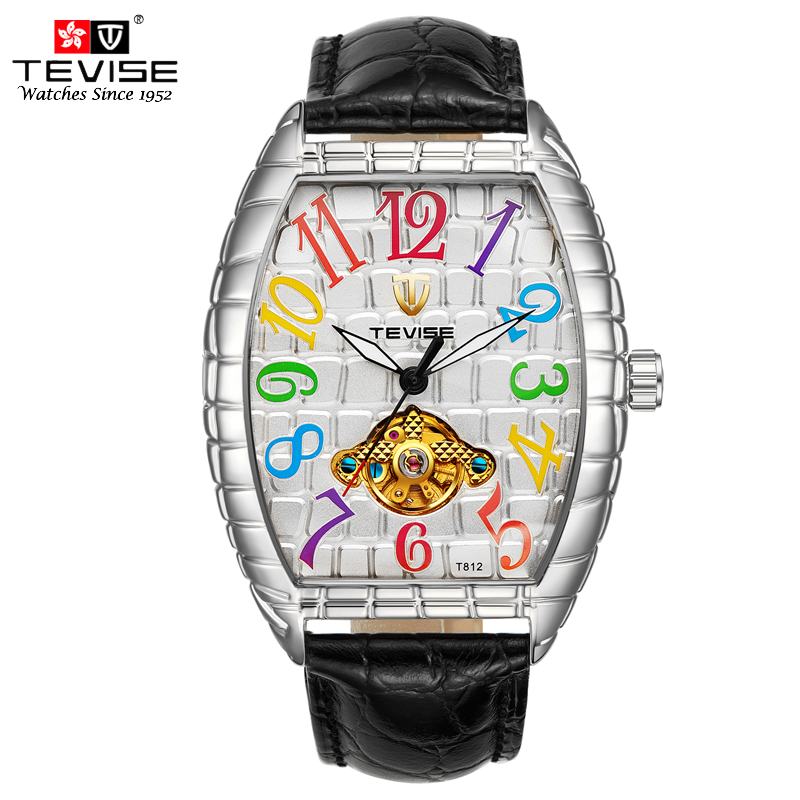TEVISE Man Mechanical Automatic Self Wind Watch Black Leather Wristwatch Silver Tonneau Tourbillon Crocodilian Dial Montre T8012 automatic self wind skeleton watch hollow out dial mechanical watches man leather relogio masculino rome exquisite carved watch