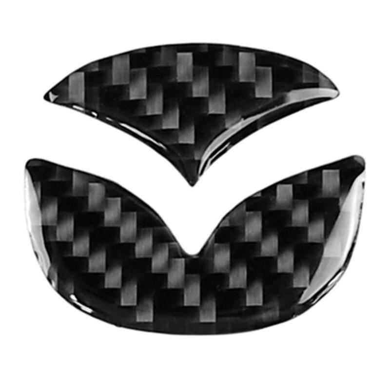 2pcs Carbon Fiber Car Steering Wheel Logo Stickers Decorative Styling Decals For Mazda Axela ATENZA CX-5 CX-4