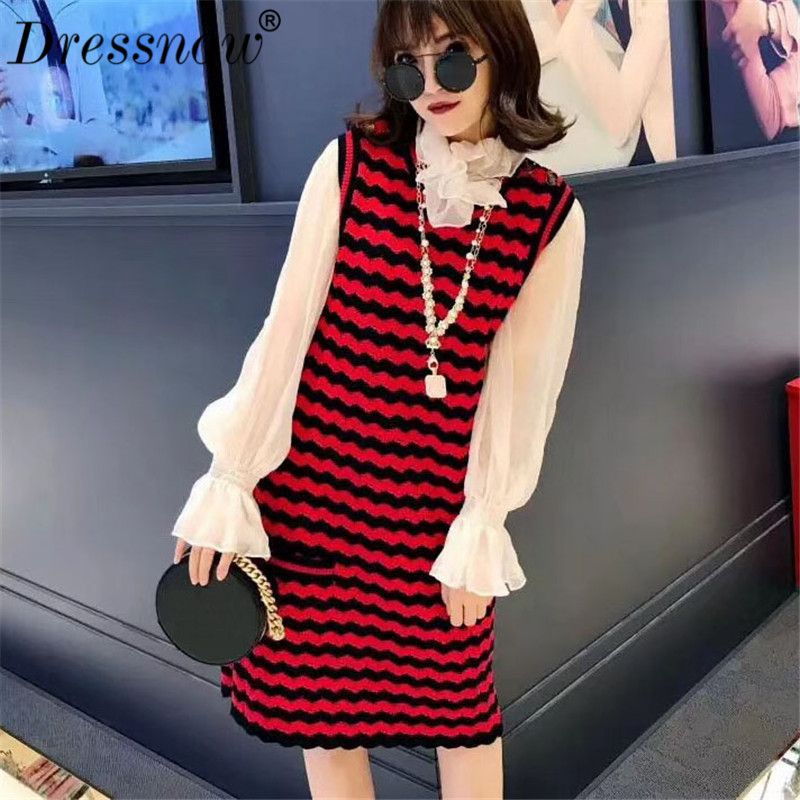 High Quality Women Dresses for Party Summer Sleeveless O-neck Slim Tank Sweater Dress with Botton Mini Dress