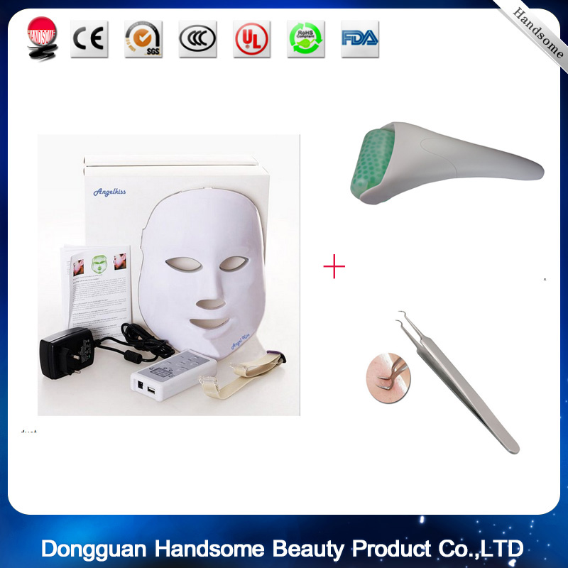 LED Photon Therapy Red Blue Green Light Treatment Facial mask +ice roller +Stainless Steel Blackhead Needle Bend Curved 0 25mm 540 needle skin maintenance painless micro needle therapy roller black red