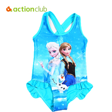 Actionclub Elsa Anna Swimwear 2016 Character Kids Swimming One Pieces Baby Girls Bathing Suit Children Swimsuit  KW081