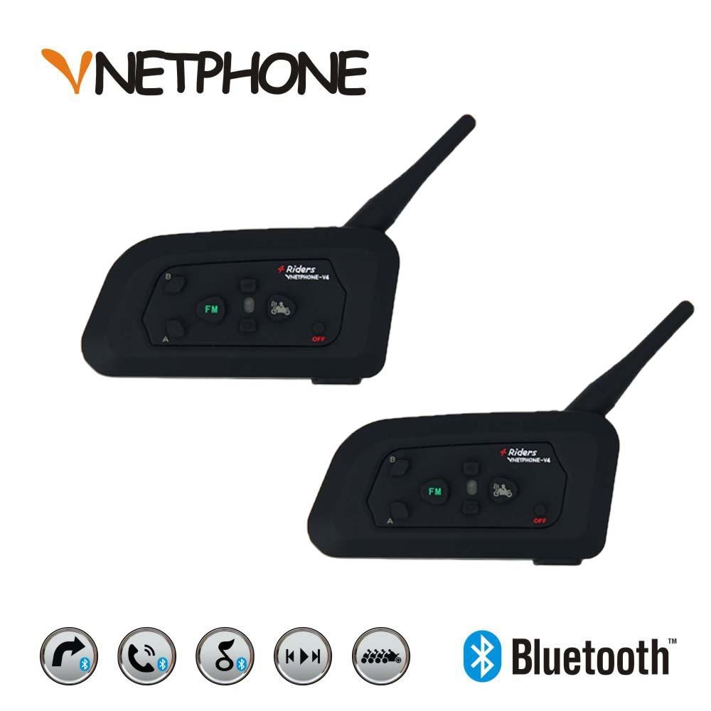 2pcs* Vnetphone 2017 V4 1200m Bluetooth Motorcycle Bike Interphone 4 Riders Headset Speaker Intercom for KTM ls2 arai <font><b>Helmet</b></font>