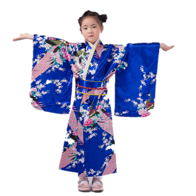 Child Silk Print Floral Peacock Dress Robes 2017 Japanese Girls Kimono Children Portray Kids Perform Dance