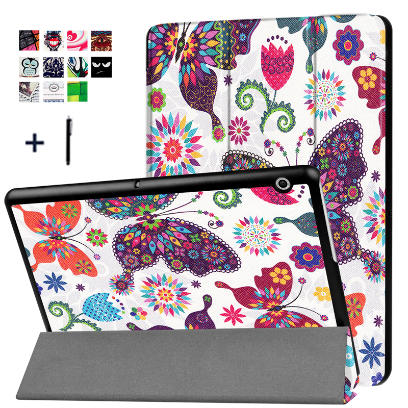 For HUAWEI MediaPad T3 10 9.6'' Case Stand Flip Leather Capa For Huawei T3 10 9.6 inch Tablet Cover Print Fundas+Stylus mediapad m3 lite 8 0 skin ultra slim cartoon stand pu leather case cover for huawei mediapad m3 lite 8 0 cpn w09 cpn al00 8