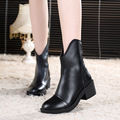 4 Colors New Soft Real Leather Zipper Womens Low Square Heel Combat Military Casual Winter Ankle Boots
