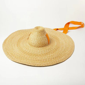 Image 3 - נשים טבעי ארוג ענק קש כובע גדול ברים תקליטונים שמש כובע גבוהה למעלה סרט להקת ענק ג מבו סומבררו כובע למבוגרים קיץ חוף כובע