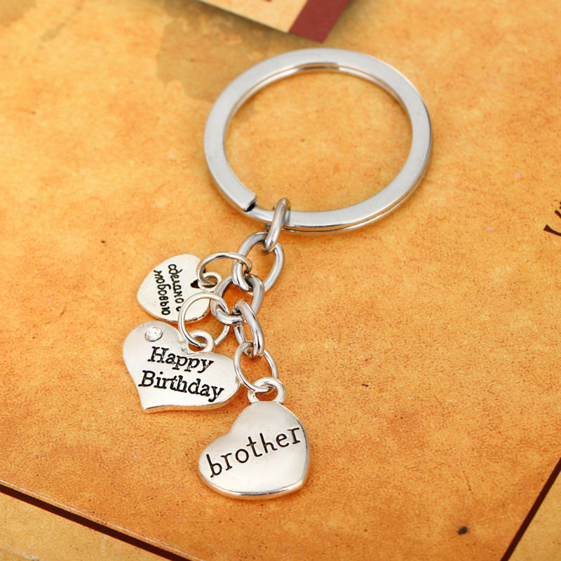 Fashion Happy Birthday Brother Love Heart Crystal Bro Keychain Keyrings Men Jewelry Key Ring Chain Gifts For Best Friend Charms In Chains From