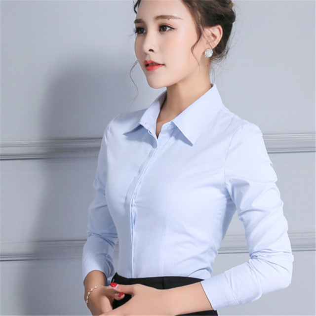 Women Cotton Non Stretch Shirt Long Sleeve Autumn Spring Tops Female OL Slim Plus Size Blouses Bttton-down office work wear tops