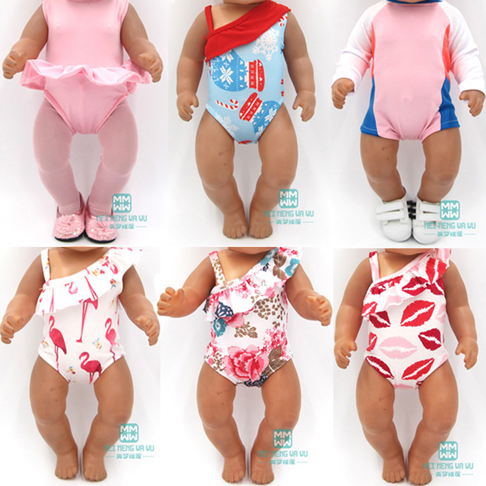 Baby Clothes For Doll Fit 43cm New Born Doll Accessories Princess Dress Swimsuit Wet Suit Dress