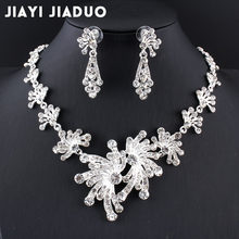 jiayijiaduo 2017 Wedding Jewelry Set Silver Color Necklace Earrings Sets for Women Dress hair accessories Crystal Flower(China)