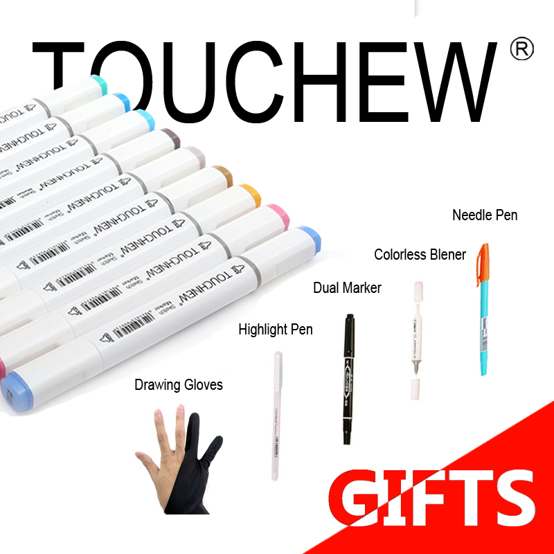 TOUCHNEW 168 colors Set Artist Dual Head Sketch Markers Set For School Drawing Sketch Marker Pen Design Supplies touchnew 30 40 60 80 168 colors artist dual headed marker set manga design school drawing sketch markers pen art supplies