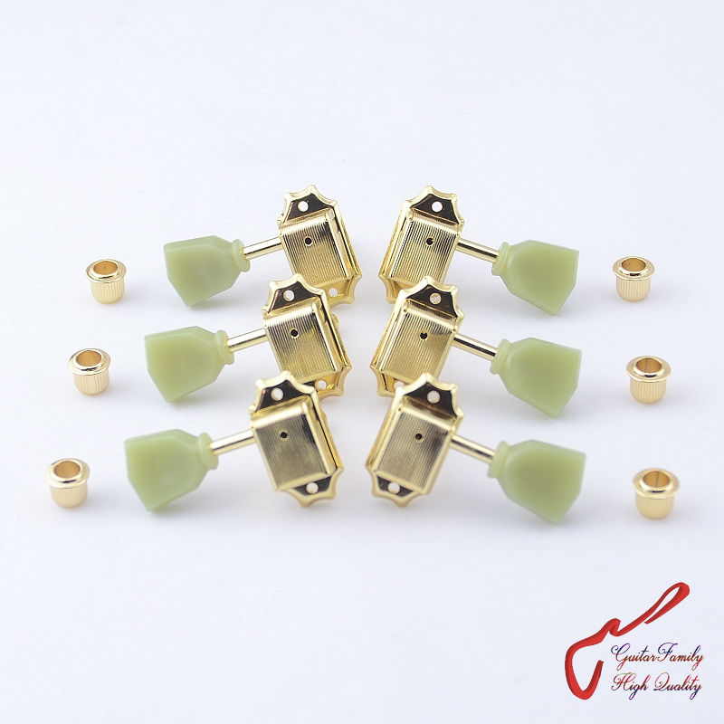 1 Set  GuitarFamily 3R-3L Vintage Guitar  Machine Heads Tuners  Gold  ( #1146 ) MADE IN KOREA 1 set guitarfamily 6 in line kluson vintage guitar machine heads tuners nickel made in korea