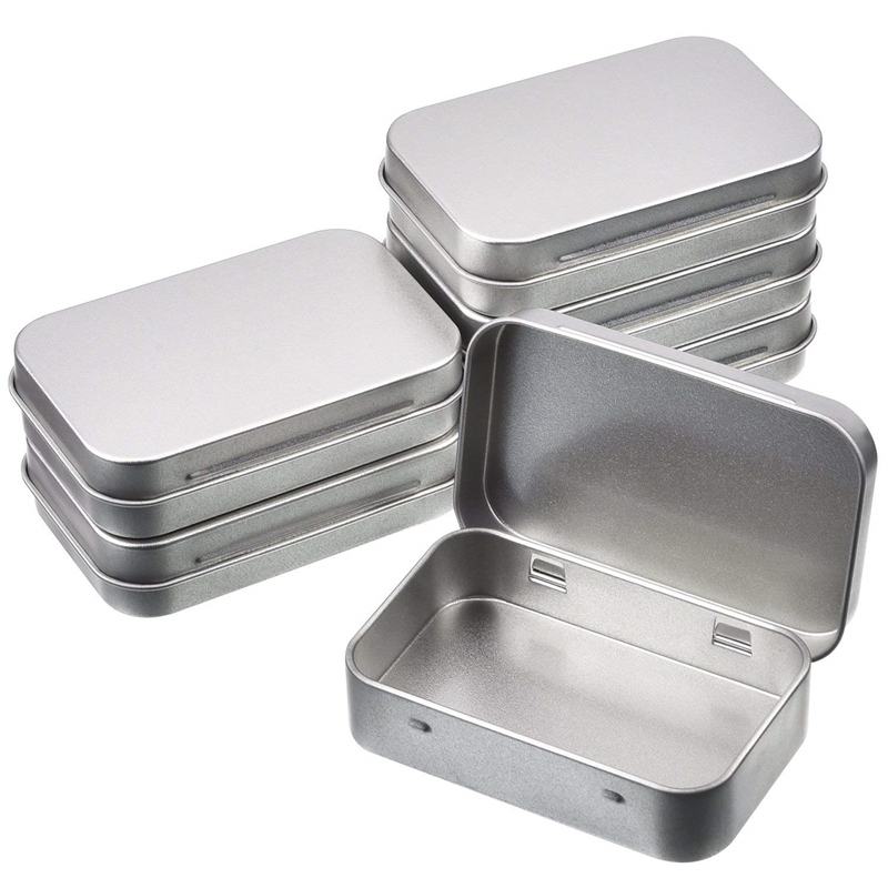 Mini Hinged Lid Tin Silver Empty Storage Box Metal Case For Money Coin Candy aTW