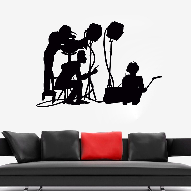 New Design Wall Decal Film Make Crew Wall Mural Movie Cinema Vinyl Art Decoration Movie Maker Silhouette Wall Art Sticker AY993 image