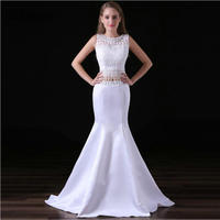 White Two Pieces Prom Dresses 2018 Tassel Sexy Elegant Gorgeous Lace Mermaid Bridesmaid Dress for Wedding Party robe de soiree