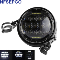 75w LED Headlight 7 inch motorcycle headlamp DRL halo lamp with 7 Moto Housing bucket for FatBoy Heritage Softail Road King